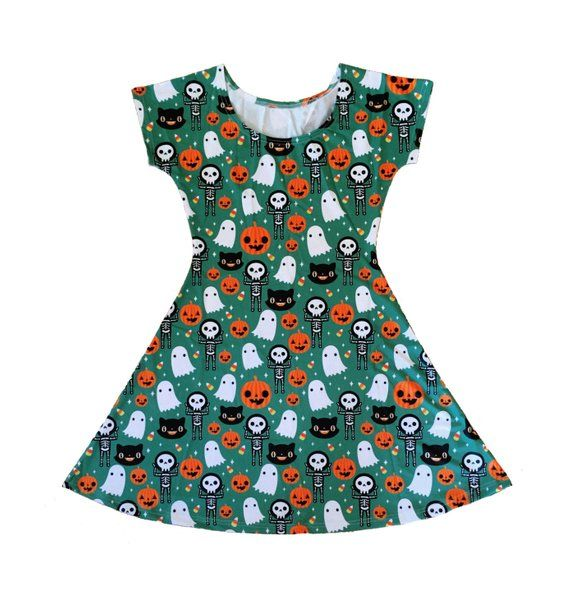 5ac112a0f6 Halloween Skater Fit and Flare Dress - Size S-3X - Ghost Skeleton Pumpkin  Candy Corn