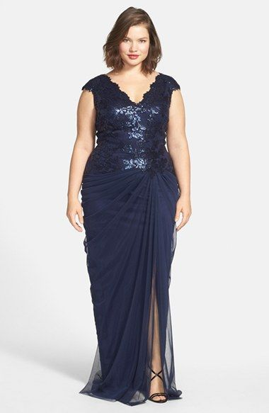 Tadashi Shoji Sequin Tulle V Neck Gown Plus Size Available At