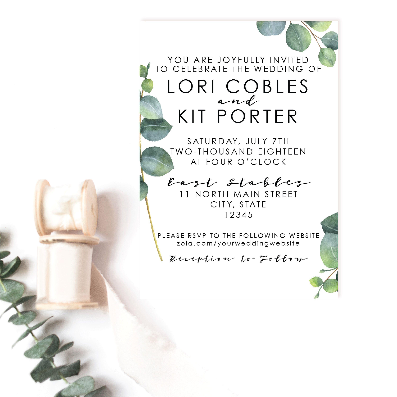 Eucalyptus wedding invitation simple and fresh wedding