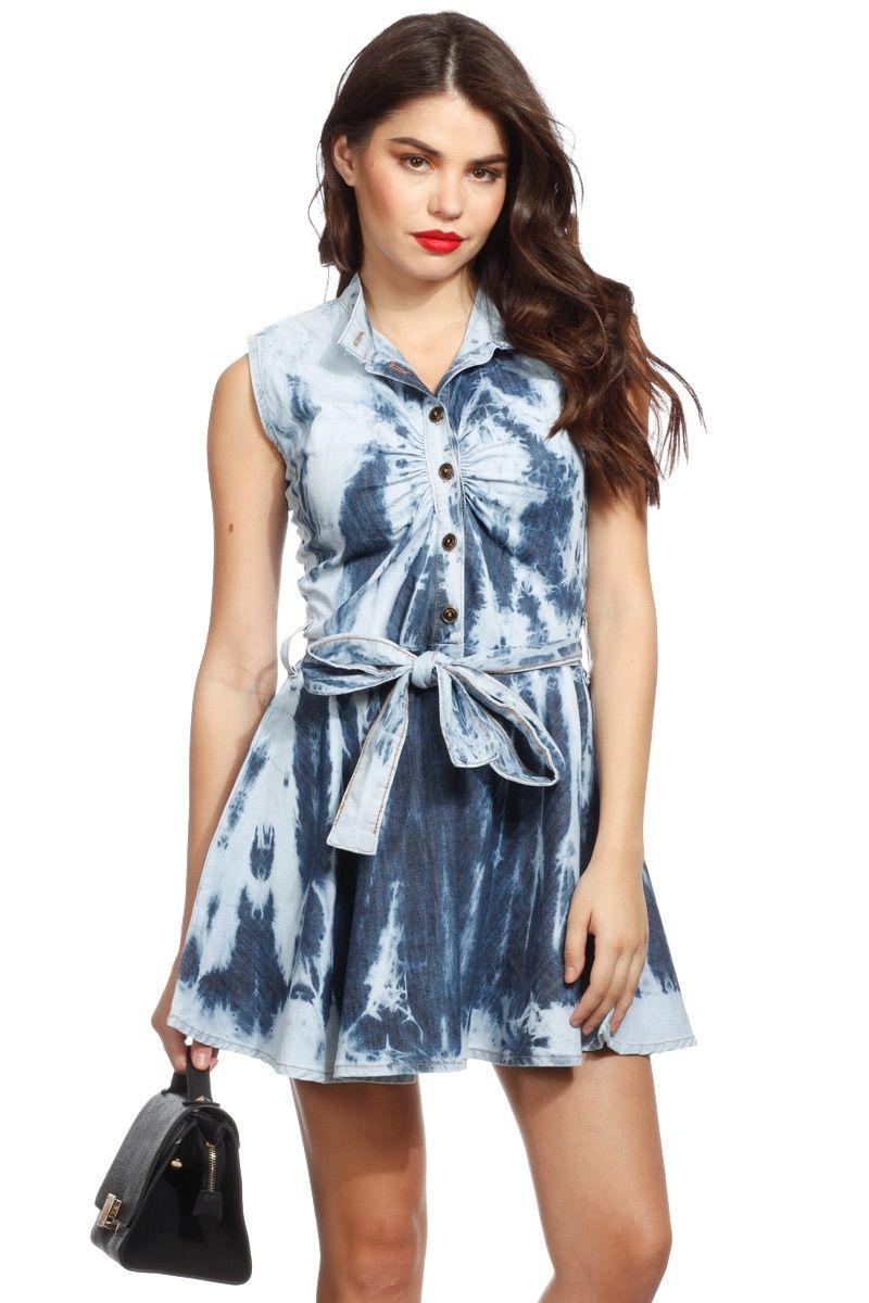 3d24f262dc Tie Dye Sleeveless Denim A Line Dress   Cicihot sexy dresses