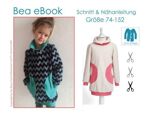 **Du kaufst hier: das eBook BEA, bestehend aus Nähanleitung und Schnittmuster** in Größe 74-152 für den Kinderpullover BEA. Unser Modell BEA ist ein locker geschnittener Long-Pullover. Die...
