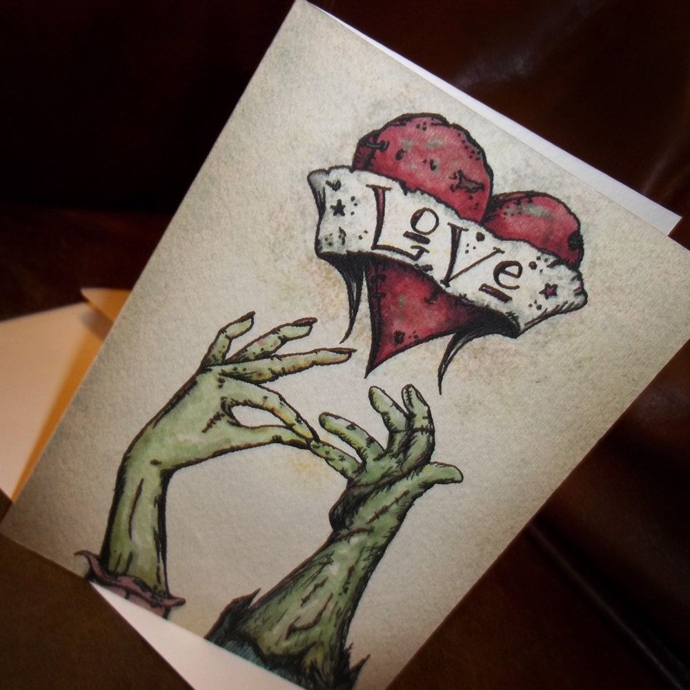 Zombie Valentines Day The Kiss Love Card Romantic 5x7 Greeting – Zombie Valentines Cards