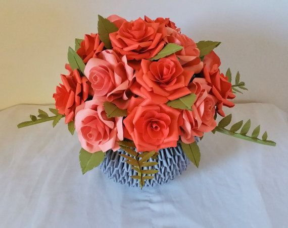 Paper Rose Centerpiece  Flower Arrangement  3D Origami Vase Fall flower arranarran