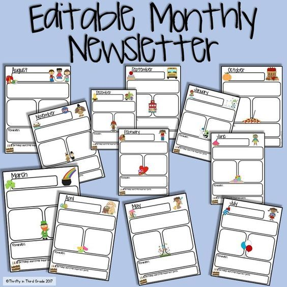 Free Editable Monthly Newsletter  Classroom Things