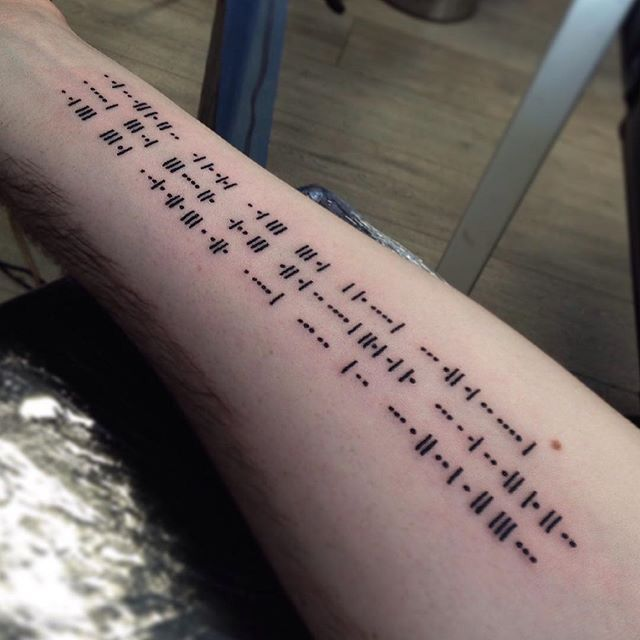 ae07536d64f9a My first tattoo, condensed morse code (picture is upside down)