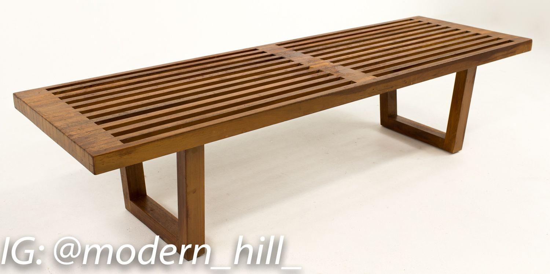George nelson style midcentury slat bench in midcentury