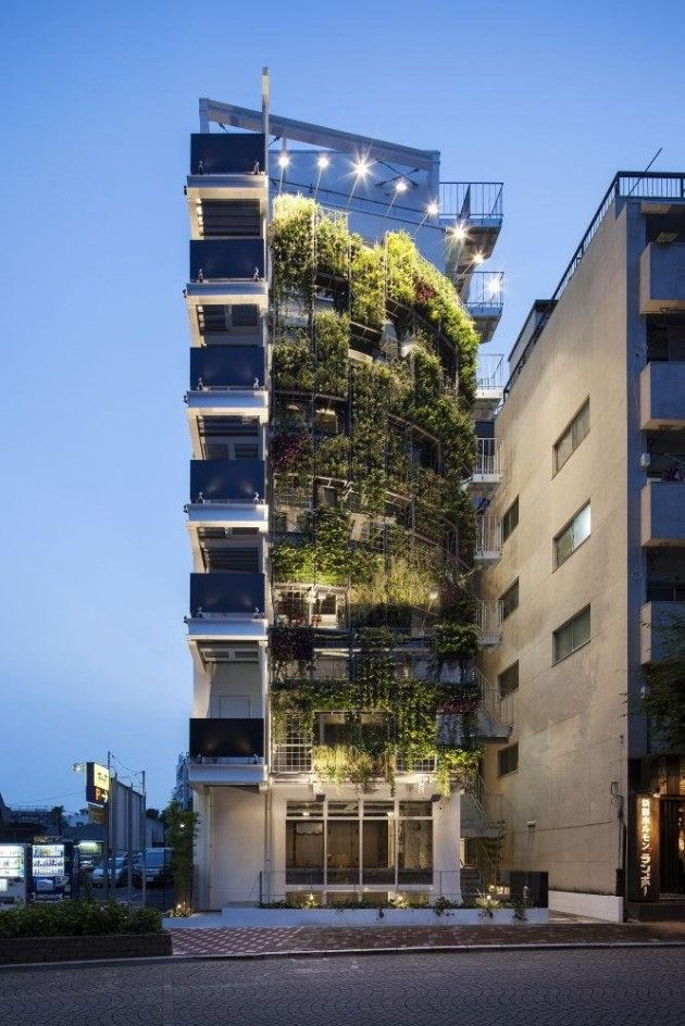 22 Amazing Vertical Garden Ideas For Your Small Yard: Great Vertical Garden On A Building In Tokyo, By Edward