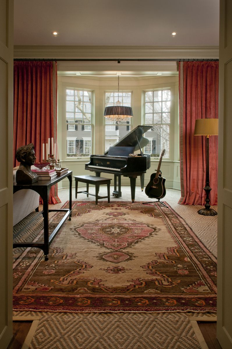 Piano In Bay Window Love The Way Drapes Flank As Well