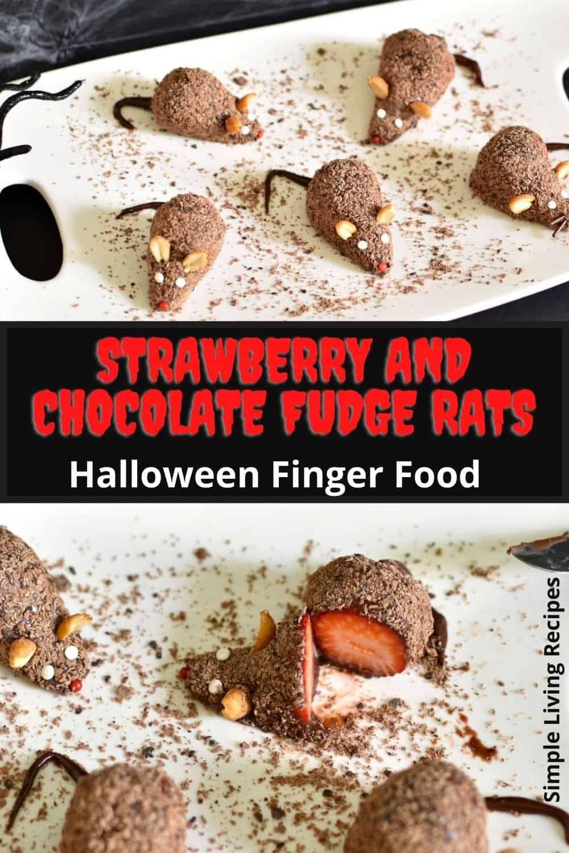 Halloween Dessert - Strawberry and Chocolate Fudge mice