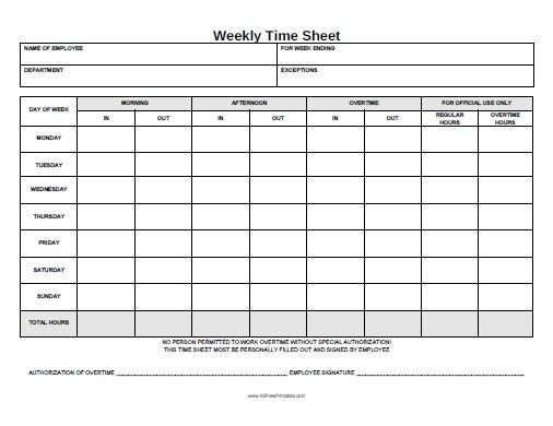 Invaluable image for printable time sheets