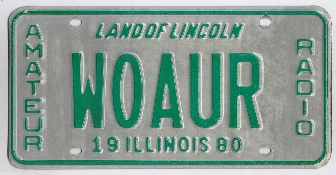 ILLINOIS W0AUR amateur radio AMERICAN LICENSE NUMBER PLATE in Collectables, Memorabilia, Americana | eBay