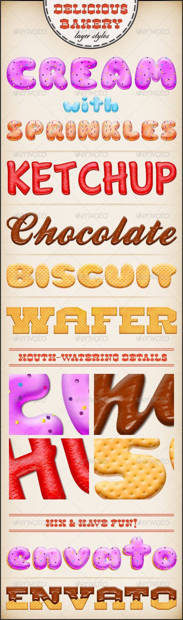 Delicious Bakery Layer Styles | Photoshop Text Styles ...