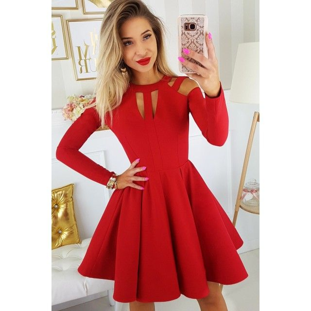Zaira Czerwona Sukienka Z Dlugim Rekawem Vestidos Moda Feminina Moda