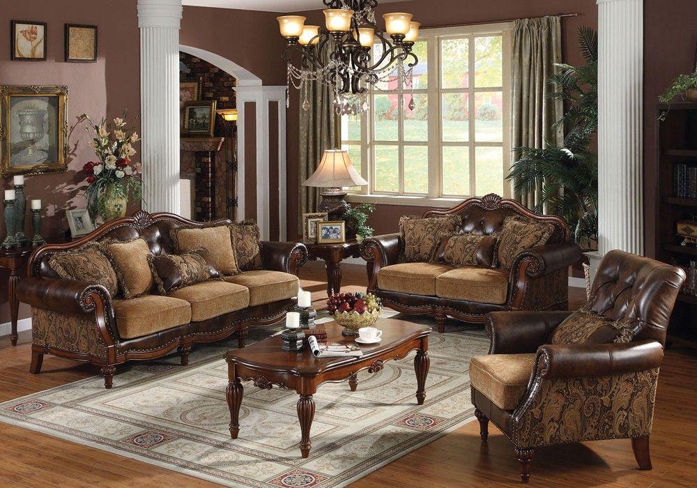 Dreena Chenille Fabric Victorian Sofa Set