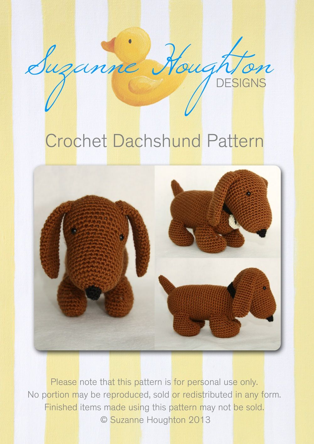 Crochet Dachshund Pattern-digital download | Tiere häkeln, Stricken ...