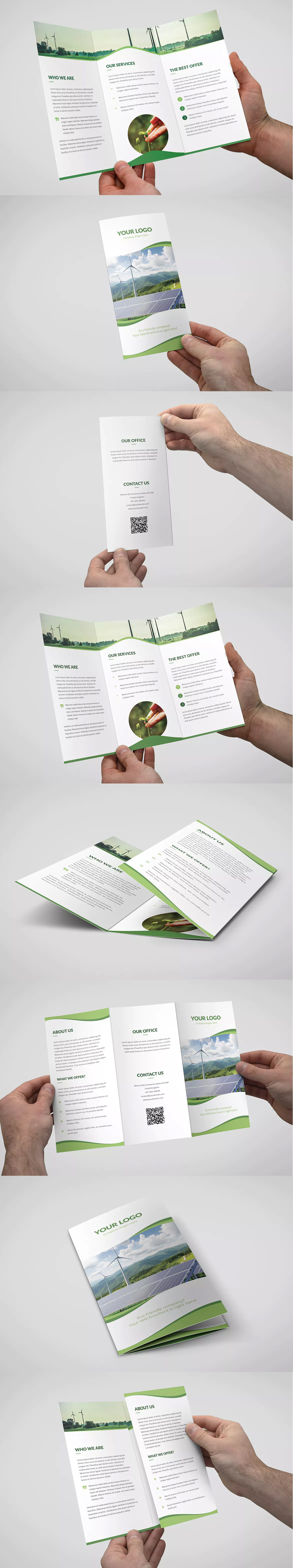 wave multipurpose tri fold brochure template psd a4 and us letter size
