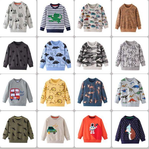 52 Styles Frühling Herbst Junge Kinderkleidung aus 100% Baumwolle Langarm vollen Auto-Dinosaurier Z
