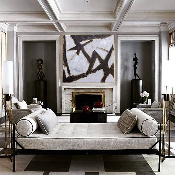 Abstract Painting Contemporary Art Wall Art Extra Large Wall Art Large Wall Decor Extra Large Canvas Art Black White Acrylic Painting In 2020 Luxury Interior Interior Interior Design