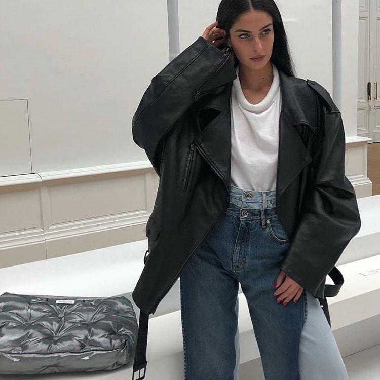 "Photo of Womenswear on Instagram: ""Oversized leather @fionazanetti  "