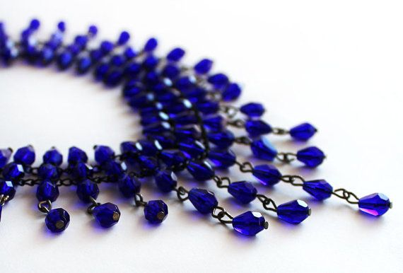 Choker necklace royal blue swarovski crystal by asteriascollection, $20.00