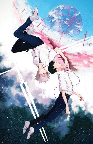 Anime pictureneon genesis evangelion gainax ikari shinji nagisa kaworu yoonmi tall image 600x927497027en