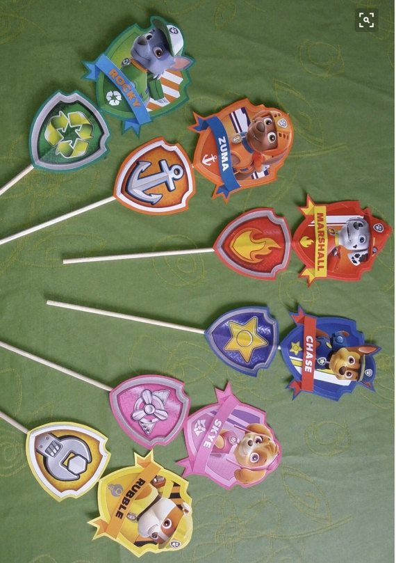 6 Paw patrol cupcake toppers
