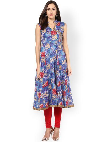 ae5e63f0945068 Designer Blue Sleeveless Anarkali Cotton Kurtis Printed Long Anarkali Kurta  And Kurti For Girl  anarkalikurtis  designeranarkalikurtis   ...
