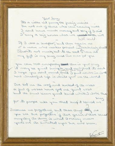 The Original Handwritten Lyrics To Elton John S Your Song With The Songs Of Elton John And Bernie T In 2020 Elton John Lyrics Elton John Quotes Your Song Elton John