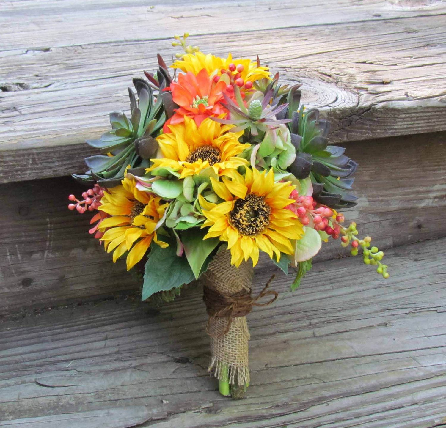 Fall Wedding Boutonniere Ideas: Sunflower & Succulents Fall Wedding Bouquet With