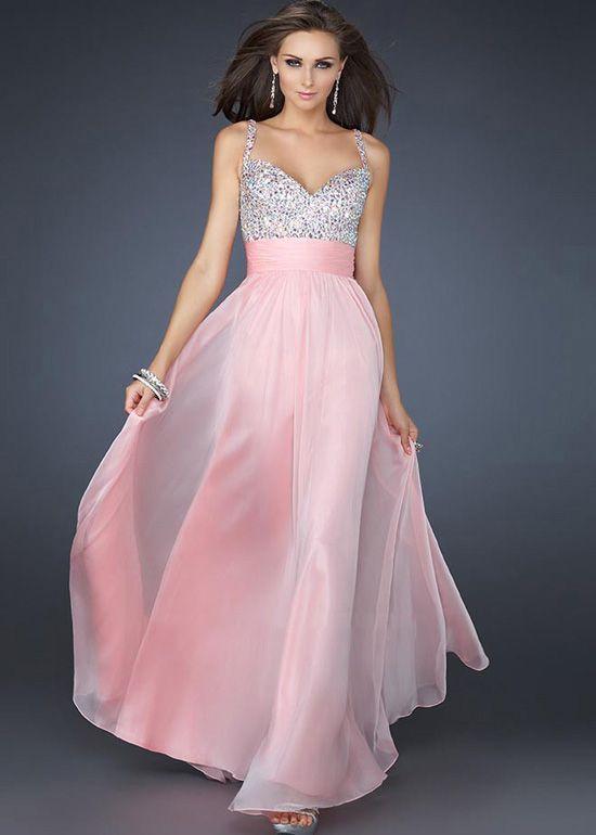 A Line Pink Deep V Back Straps Sequin Bridesmaid Dress