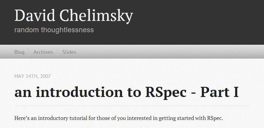 A good RSpec tutorial
