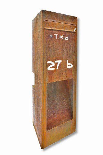 Astreiner freistehender Briefkasten aus rostigem Stahl | Briefkasten ...
