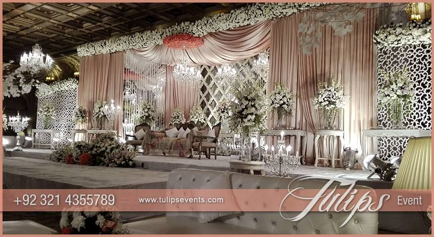 Stunning pakistani wedding stage decoration crystal for Backdrops for stage decoration