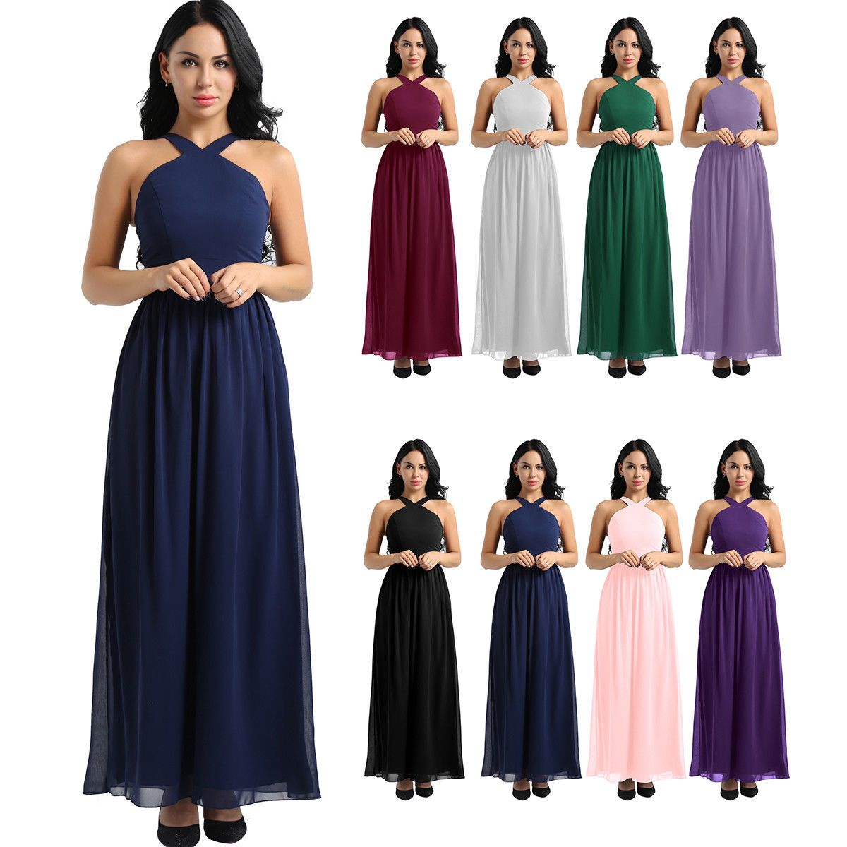 Damen Festlich Kleid Elegant Rückenfrei lang Chiffon Kleider
