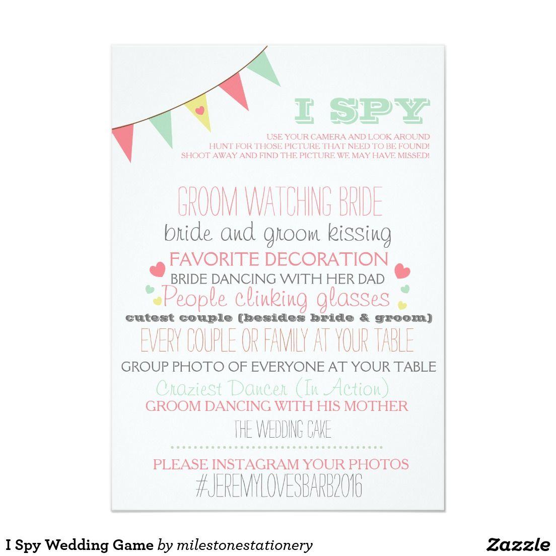 i spy wedding game card weddings pinterest zazzle invitations