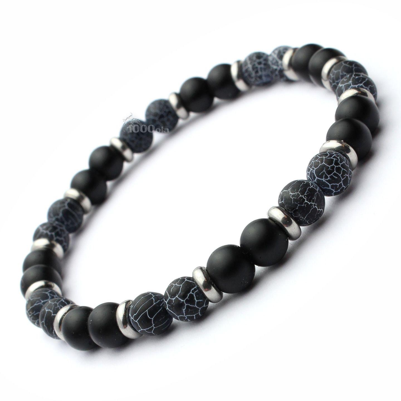 5a97428823f Mode tendance BRACELET Homme Perles Agate noir gris mat (Onyx) 6mm +  anneaux Métal Inox inoxydable