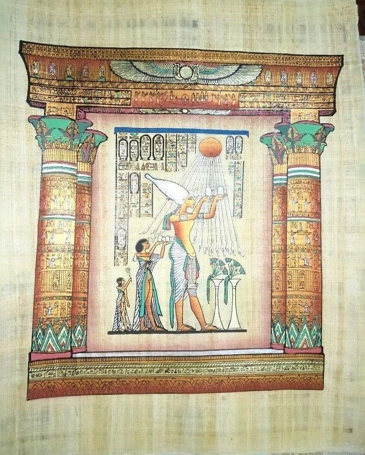 Egyptian Antique Ashtray Plate Decorative Isis Metal Ancient Hieroglyphic 236
