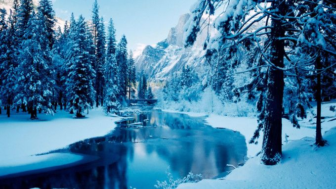 Beautiful Blue Forest Ice Mountain Nature River Winter Background Winter Nature Winter Wallpaper Hd