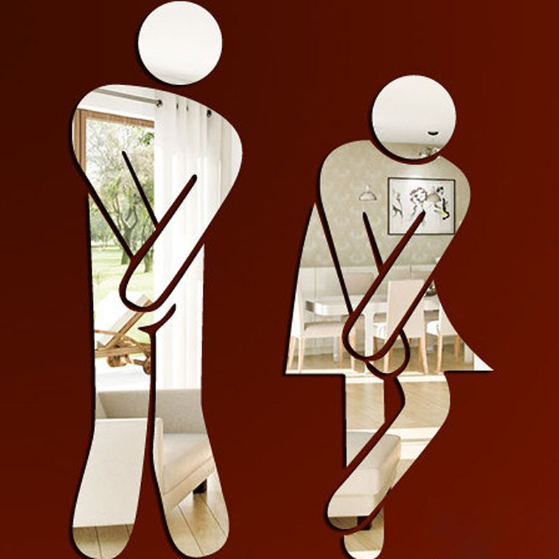 Barato 3d Espelho Etiqueta Nome Engracado Wc Sinal De Entrada Da