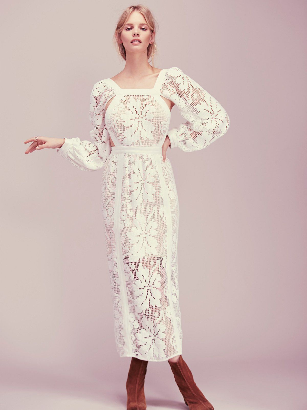 Youuve got the love dress in a femme floral crochet this wide long