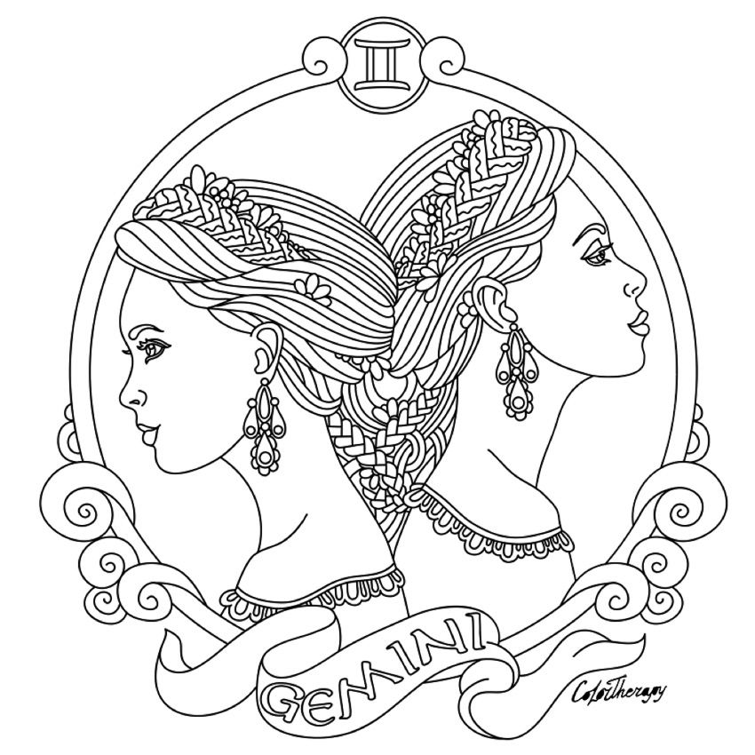 Gemini Zodiac beauty colouring page Easy christmas