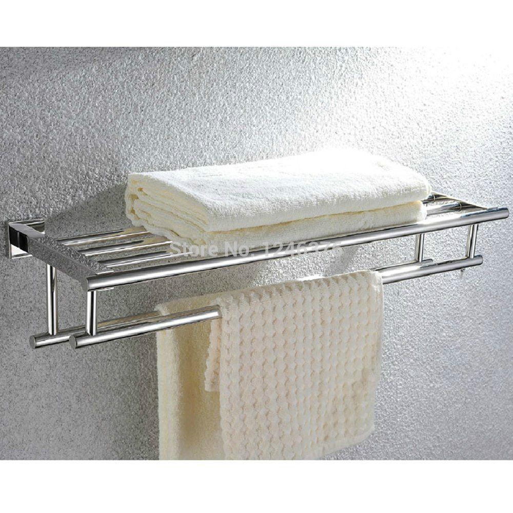 Wall Mounted Towel Rack Bathroom Hotel Rail Holder Storage Shelf Stainless Steel Towel Rack Bathroom Towel Rack Towel Storage