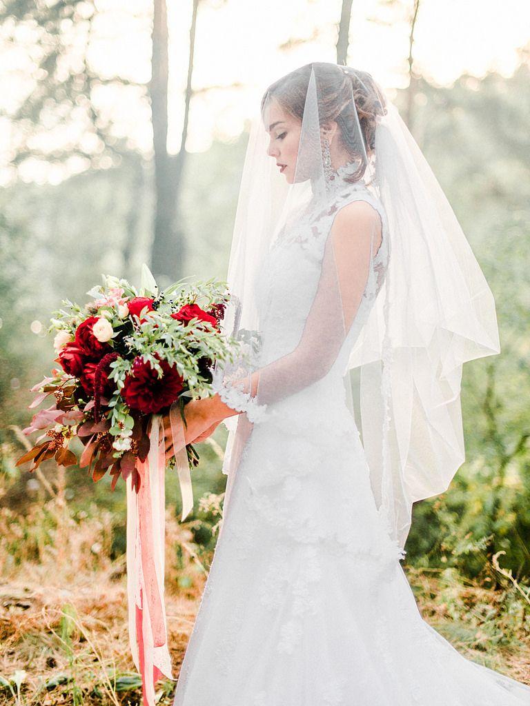 Enchanted Forest Marsala Wedding Inspiration & High neck wedding ...