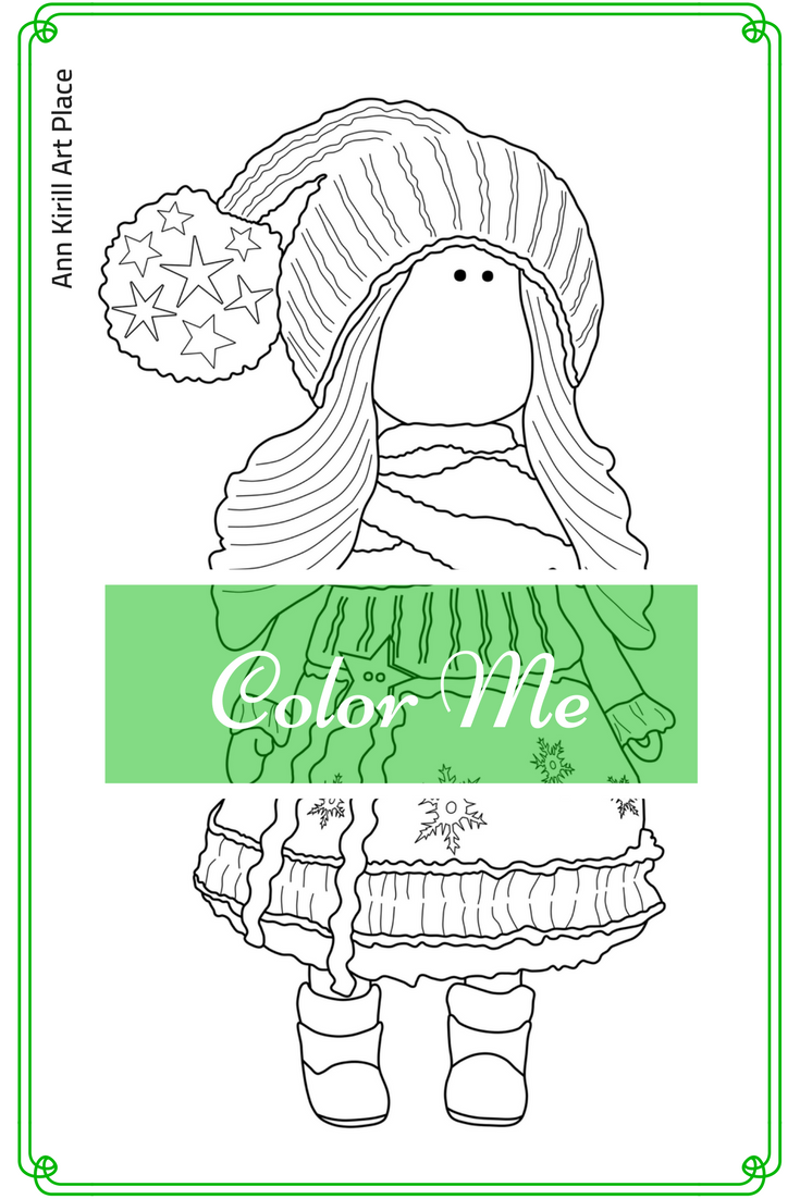 Color Me, Girl Digital Stamp, Tilda Art Coloring, Instant Download ...