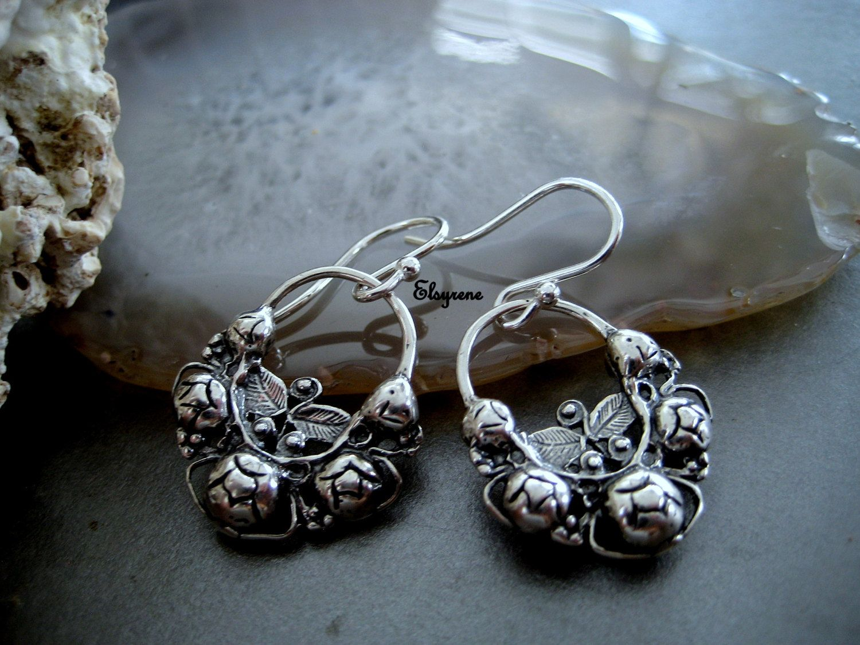 Frida Khalo Style Jewelry Earrings Mandala Silver Mexican Arracadas Folk Hoops