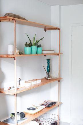 DIY    Copper \ Wood Shelf Selber bauen möbel, Regal selber - bucherregal aus holz originelles design info new