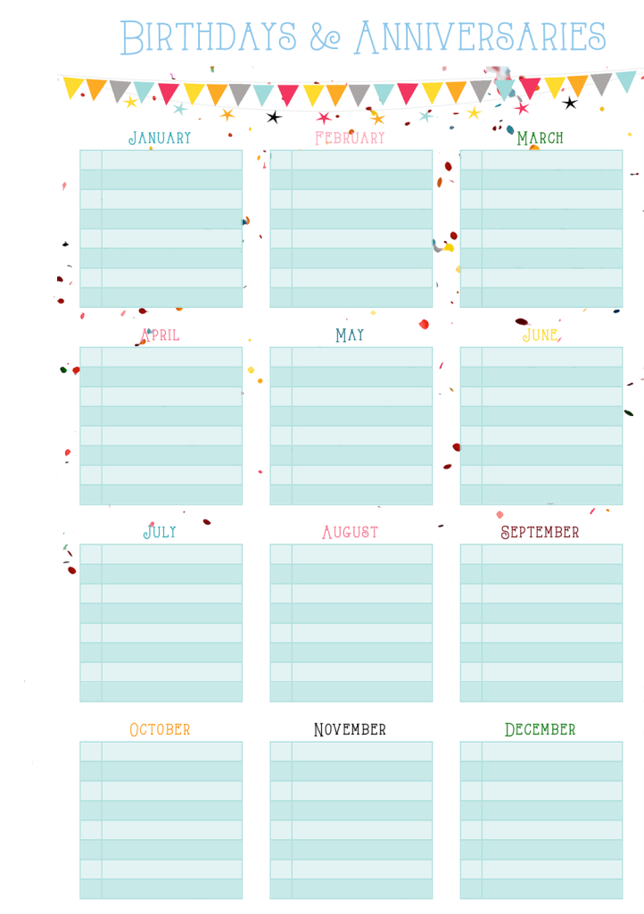 family birthday calendar template - birthdays anniversaries on one page free printable