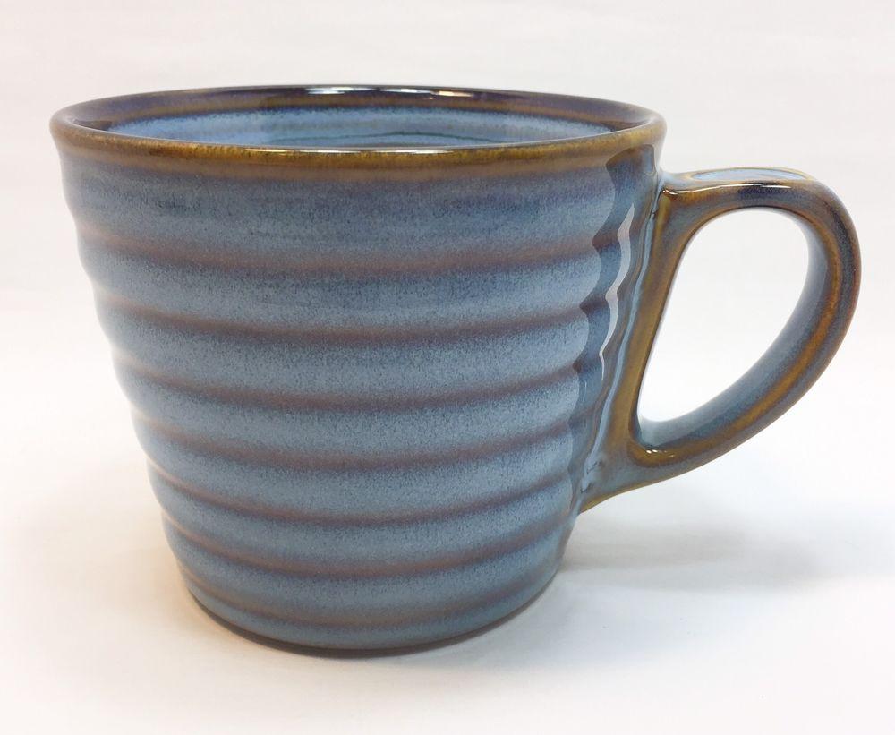 Starbucks Coffee Mug 12 Oz Blue Brown Stripes Ribbed 2008