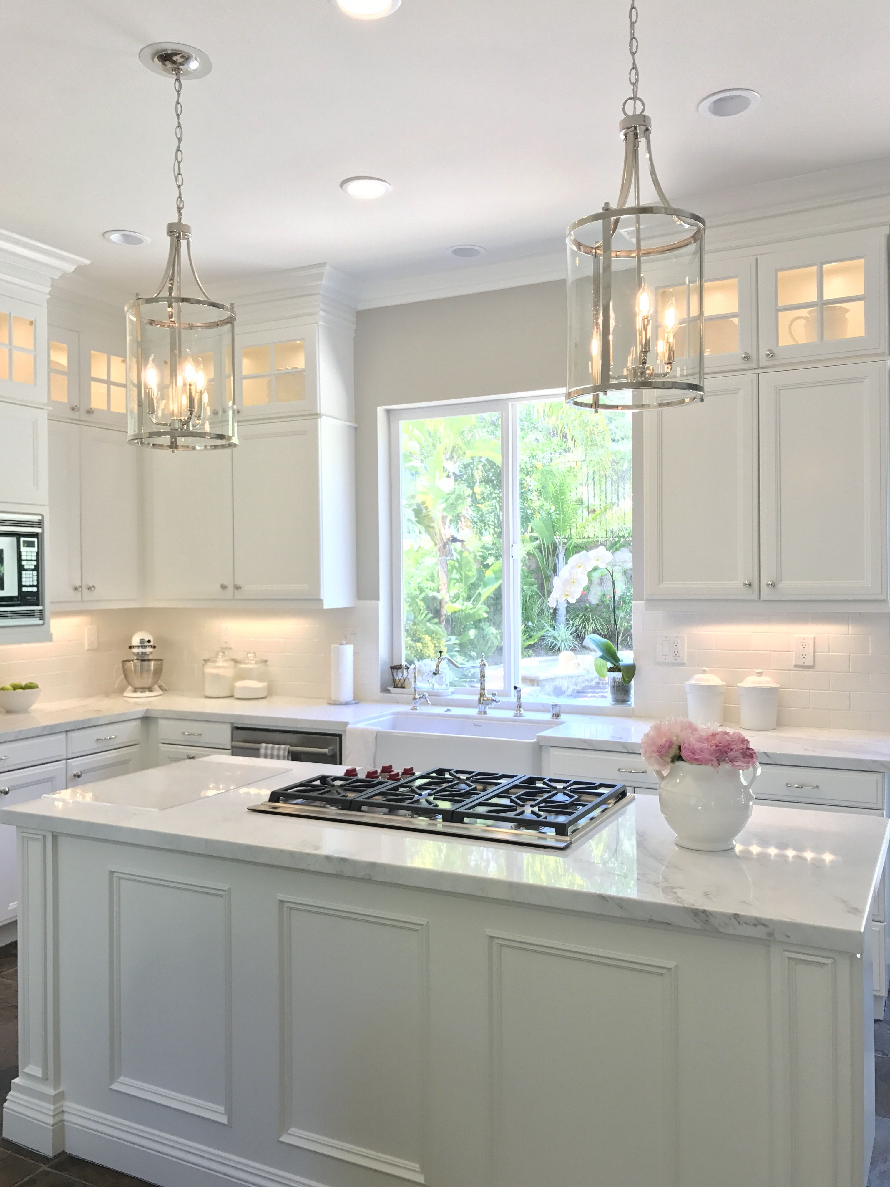 Kitchen Cabinets To Ceiling With Glass White Kitchen With Danby Marble And Subway Tile Backsplash