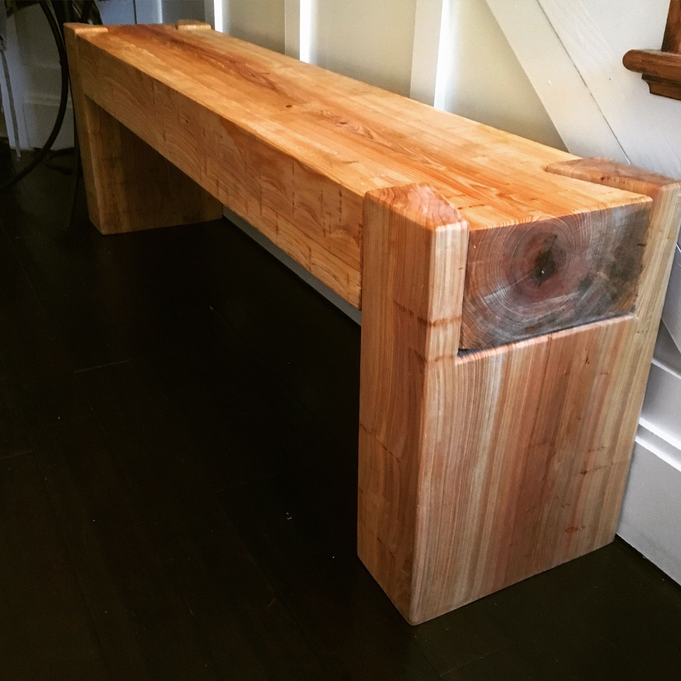 dovetail cypress beam bench #penandpeg